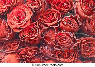 bouquet roses, dans, vendange, style