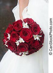bouquet, roses, flowers., mariage, blanc, nuptial, rouges