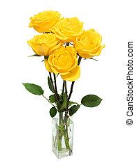 bouquet, roses, jaune