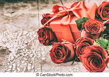 bouquet, roses, monture, rouges, valentine