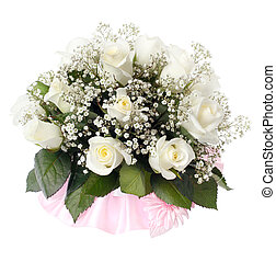 bouquet, roses, nuptial