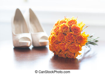 bouquet, roses, orange, chaussures, mariage