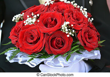 bouquet, roses, rouges