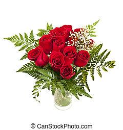 bouquet, roses, rouges, frais