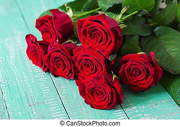 bouquet, roses, rouges