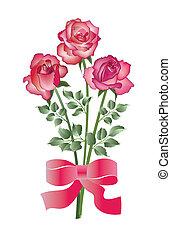 bouquet, roses, trois