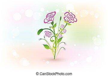 bouquet, roses, vecteur, conception