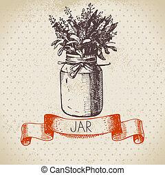 bouquet., rustic, krug, skizze, lavendel, weinlese, hand, gezeichnet