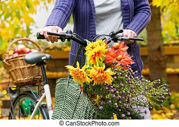 bouquet, sac, achats femme, fleur