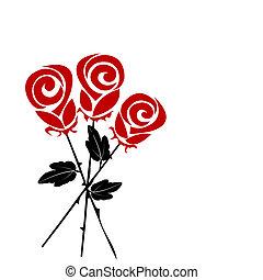 bouquet, stylisé, roses