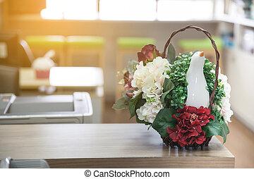 bouquet, table, fleurs