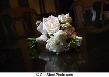 bouquet, table, nuptial, bois