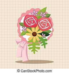 bouquet, thème, fleur, éléments