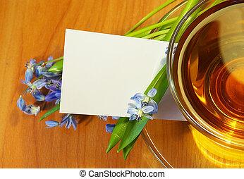 bouquet, thé, fleurs
