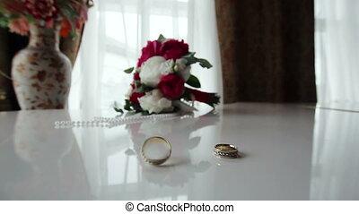 bouquet, tourner, piano, anneaux, mariage