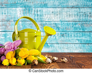 bouquet, tulipes, arrosage, coloré, boîte