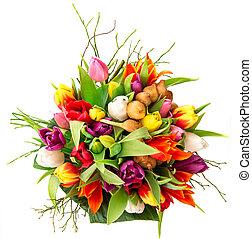 bouquet, tulipes, blanc, coloré, frais