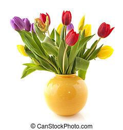 bouquet, tulipes, coloré