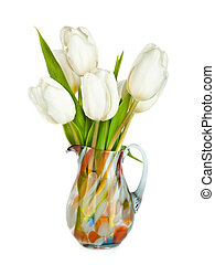 bouquet, tulipes, isolé, vase, fond, blanc