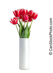 bouquet, tulipes, isolé, vase, fond, blanc rouge