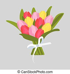 bouquet, tulipes, multicolore