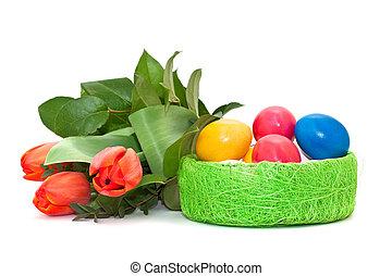 bouquet, tulipes, oeufs pâques