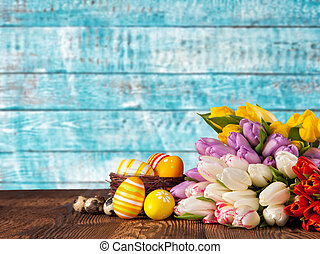 bouquet, tulipes, oeufs, paques, coloré