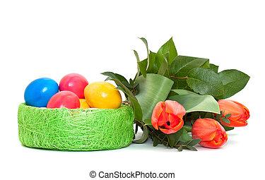 bouquet, tulipes, oeufs, paques