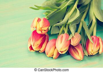 bouquet, tulipes, printemps
