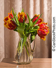 bouquet, tulipes, rouges