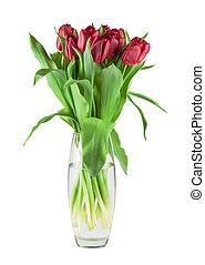 bouquet, tulipes, rouges