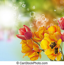 Bouquet Tulips on abstract Spring nature background. Easter