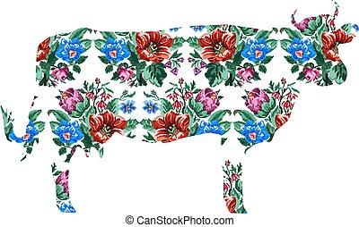 bouquet, vache, wildflowers, couleur