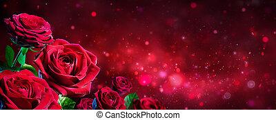 bouquet, -, valentin, roses, arrière-plan rouge, brillant, carte