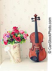bouquet, violon, fleurs, livin