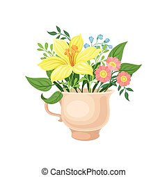 Bouquet with a large yellow flower in the mug. Vector illustration on white background.
