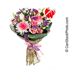 Bouquet with chrysanthemums, lillies and roses