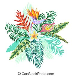 Bouquet with heliconia, plumeria, bird-of-paradise flower, tropical leaves on white background.