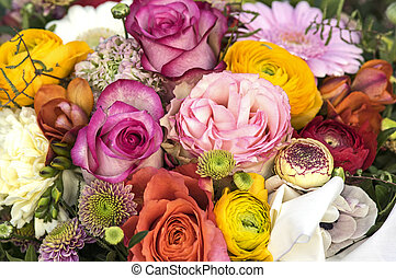 Bouquet with many colored flowers