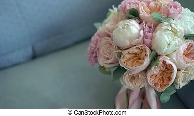 Bouquet with peonies - Bridal bouquet with peonies on blue...
