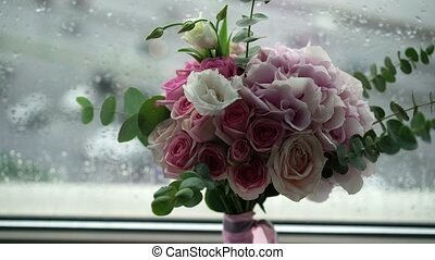 Bouquet with pink and white roses