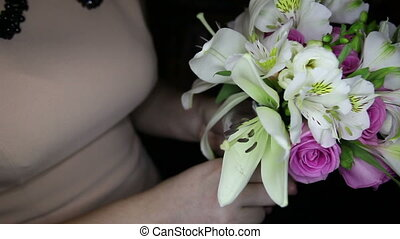 bouquet with white lilies and pink roses
