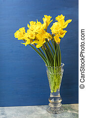 Bouquet Yellow daffodil in a glass vase. Copy space