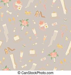 bouquets, brude, seamless, vektor, mode, bryllup, konstruktion, tilbehør, handsker, bags, mønster, illustration.