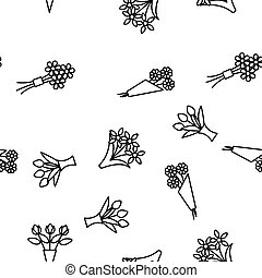 Bouquets, Bunches Of Flowers Vector Seamless Pattern