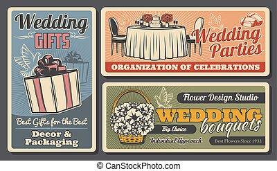 bouquets, colombes, anneaux, gâteau, cadeau, mariage