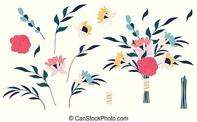 bouquets., leaves., dessin animé, floral, décoratif, branch., paquet, rose, vecteur, rose, plat, affiche, conception, elements., vert, invite., ensemble, illustration., fleur