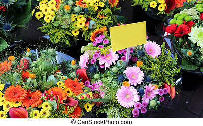 bouquets of flowers for sale by the florist to the market