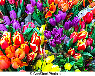 Bouquets of fresh colorful tulips, sale in the market