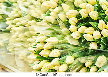 bouquets of freshly cut white tulips for sale